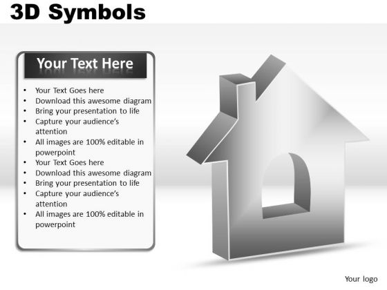 House 3d Symbols PowerPoint Slides And Ppt Diagrams Templates