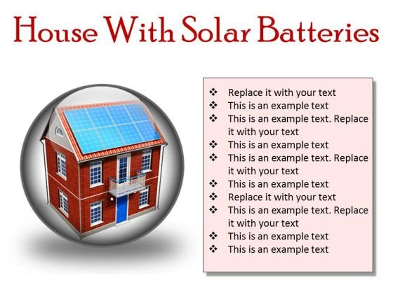 House With Solar Batteries Technology PowerPoint Presentation Slides C