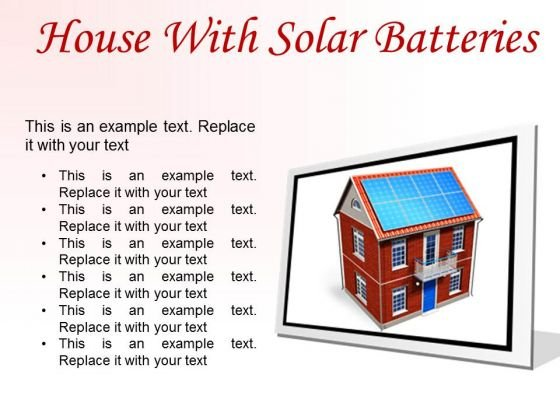 House With Solar Batteries Technology PowerPoint Presentation Slides F
