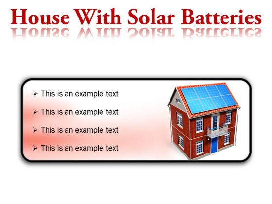 House With Solar Batteries Technology PowerPoint Presentation Slides R