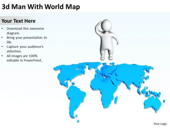 How To Draw Business Process Diagram 3d Man With World Map PowerPoint Slides