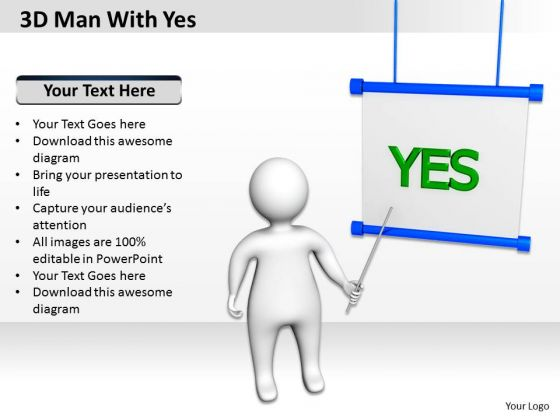 How To Draw Business Process Diagram 3d Man With Yes PowerPoint Slides