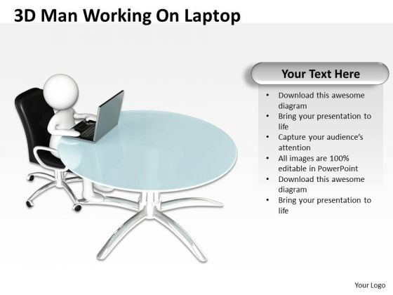 How To Draw Business Process Diagram 3d Man Working On Laptop PowerPoint Slides