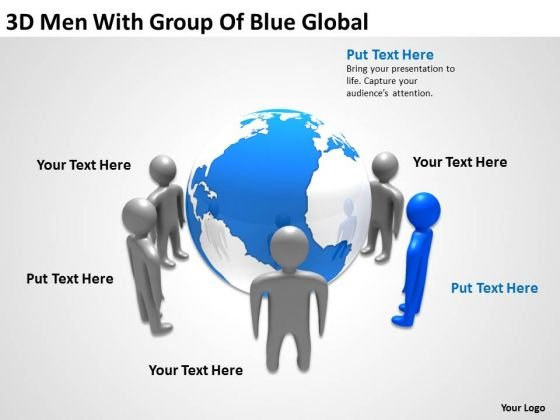 How To Draw Business Process Diagram 3d Men With Group Of Blue Global PowerPoint Templates