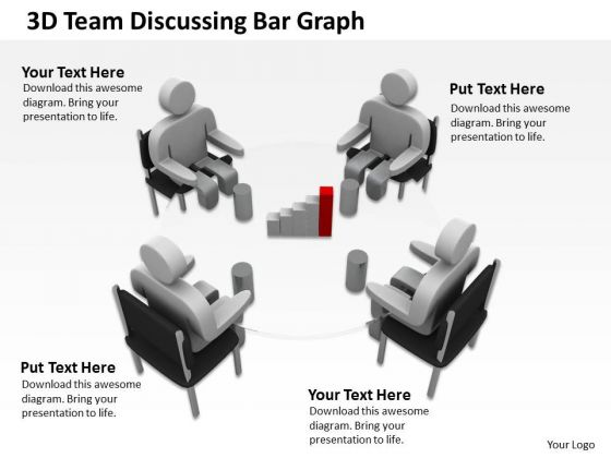 How To Draw Business Process Diagram 3d Team Discussing Bar Graph PowerPoint Templates