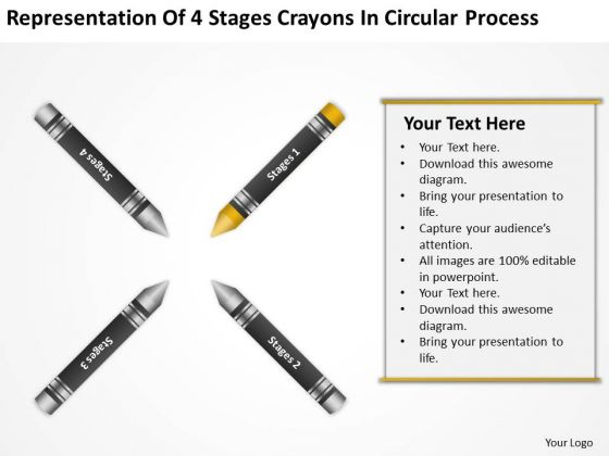 How To Draw Business Process Diagram 4 Stages Crayons Circular PowerPoint Slides