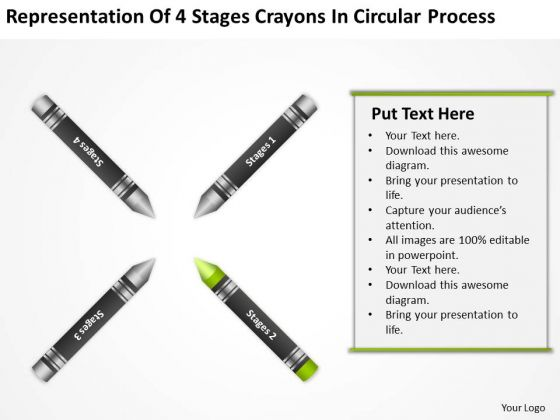 How To Draw Business Process Diagram 4 Stages Crayons Circular Ppt PowerPoint Slides