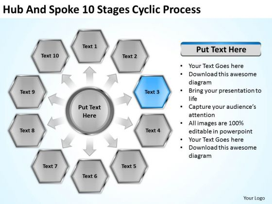 Hub And Spoke 10 Stages Cyclic Process Business Plan Example PowerPoint Slides