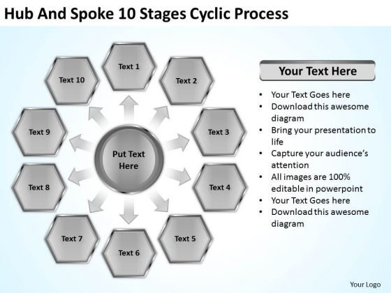 Hub And Spoke 10 Stages Cyclic Process Business Plan PowerPoint Slide