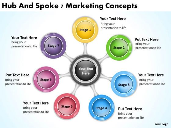 Hub And Spoke 7 Marketing Concepts Online Business Plans PowerPoint Templates
