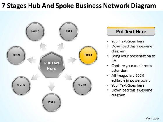 Hub And Spoke Business Network Diagram Plan Outline Template Free PowerPoint Slides