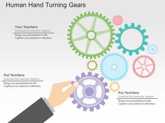Human Hand Turning Gears PowerPoint Templates