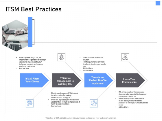 ITIL Framework And Processes ITSM Best Practices Ppt File Tips PDF