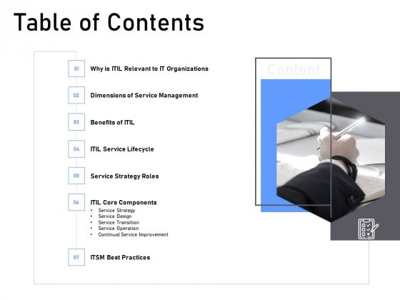ITIL Framework And Processes Table Of Contents Ppt Inspiration Deck PDF