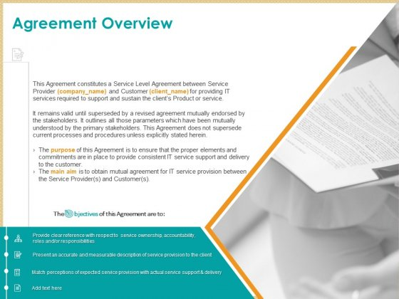 ITIL Service Quality Agreement Agreement Overview Ppt Infographics File Formats PDF