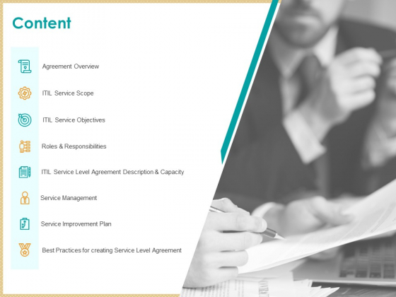 ITIL Service Quality Agreement Content Ppt Summary Model PDF