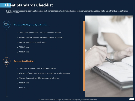 ITIL Strategy Service Excellence Client Standards Checklist Ppt PowerPoint Presentation Ideas Infographics PDF