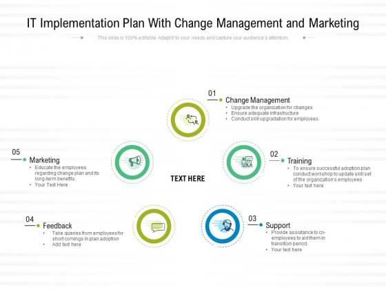 IT Implementation Plan With Change Management And Marketing Ppt PowerPoint Presentation Professional Portfolio PDF