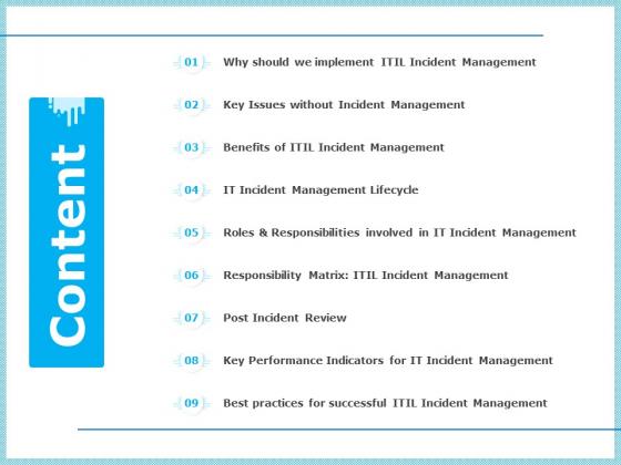 IT Infrastructure Library Incident Handling Procedure Content Mockup PDF