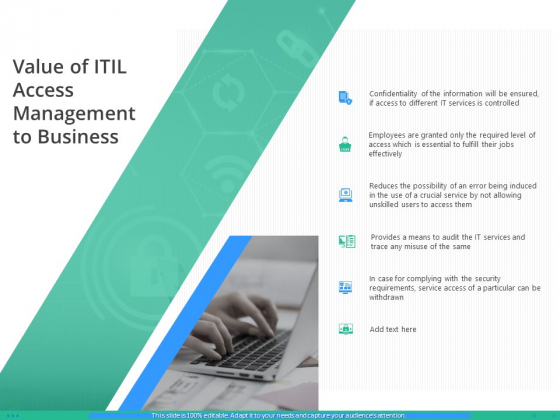 IT Infrastructure Library Permission Administration Value Of ITIL Access Management To Business Background PDF