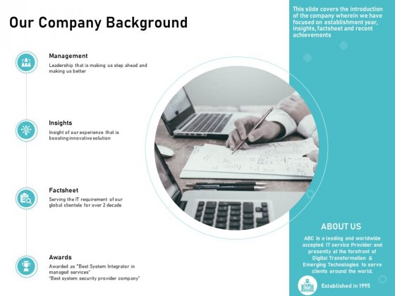 IT Support And Monitoring Services Pricing Our Company Background Ideas PDF