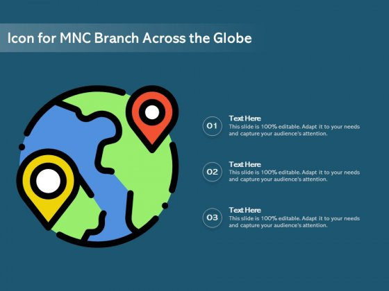 Icon For MNC Branch Across The Globe Ppt PowerPoint Presentation Gallery Clipart Images PDF