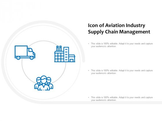 Icon Of Aviation Industry Supply Chain Management Ppt PowerPoint Presentation Outline Graphics