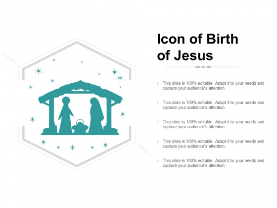 Icon Of Birth Of Jesus Ppt PowerPoint Presentation Infographic Template Mockup