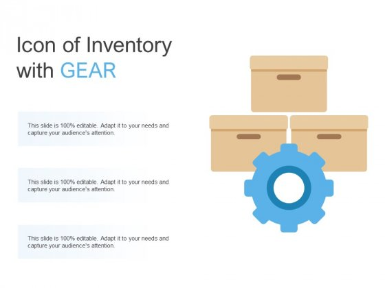Icon Of Inventory With Gear Ppt PowerPoint Presentation Pictures Professional