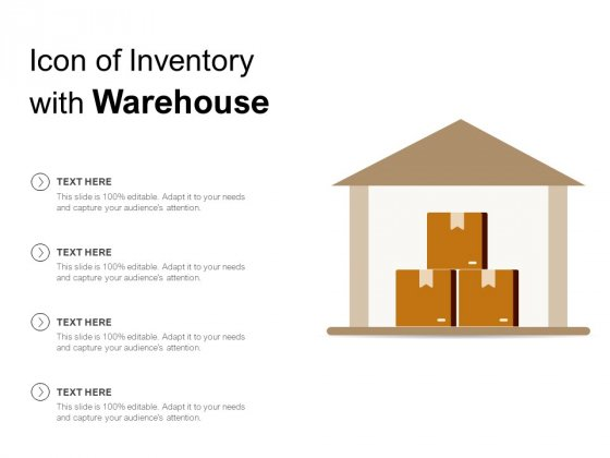 Icon Of Inventory With Warehouse Ppt PowerPoint Presentation Model Guide