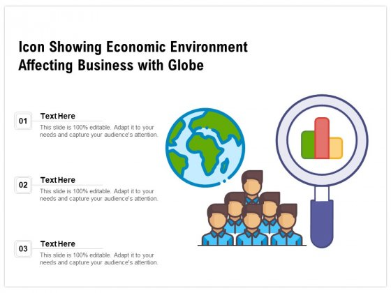 Icon Showing Economic Environment Affecting Business With Globe Ppt PowerPoint Presentation File Background PDF