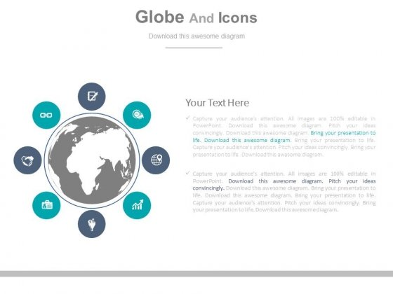 icons around globe for market research powerpoint template, Powerpoint templates