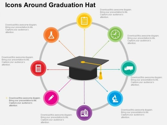 Icons Around Graduation Hat Powerpoint Templates