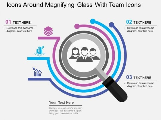 Icons Around Magnifying Glass With Team Icons Powerpoint Templates