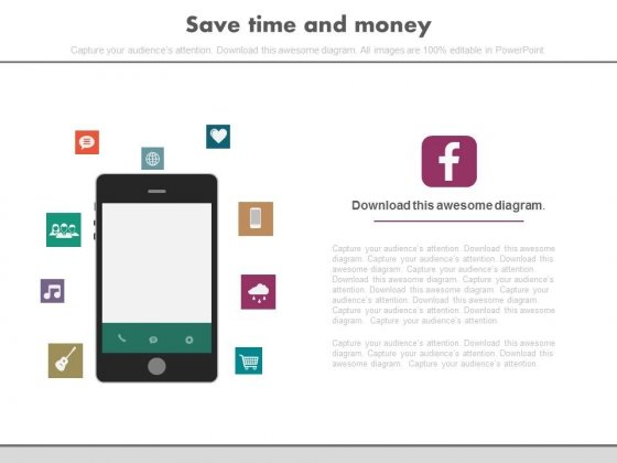 Icons Around Mobile For Communication Powerpoint Slides