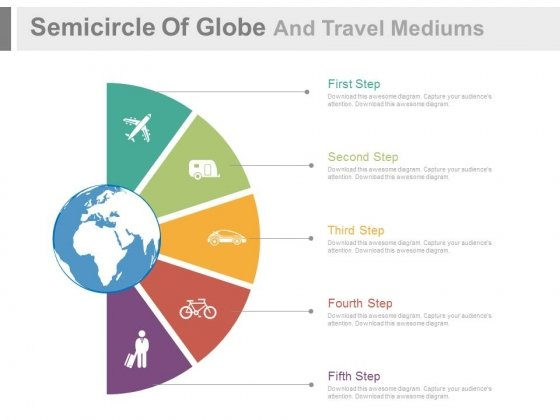 Icons For Globe Travel Modes Powerpoint Slides