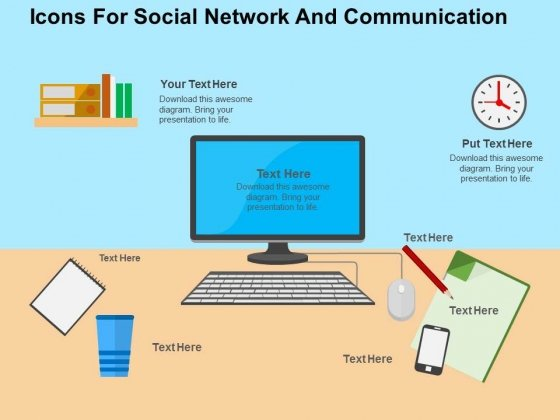 Icons For Social Network And Communication Powerpoint Templates