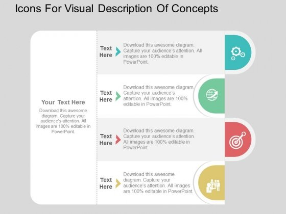 Icons For Visual Description Of Concepts Powerpoint Templates