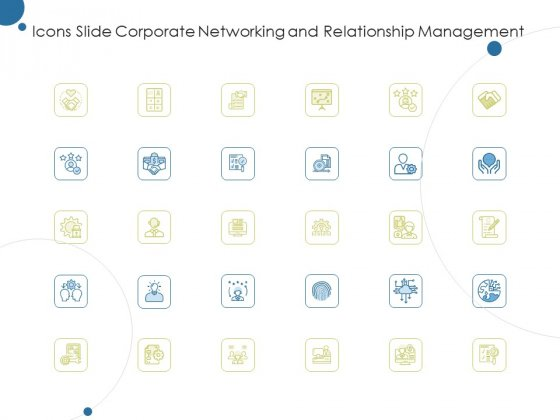 Icons Slide Corporate Networking And Relationship Management Ppt Outline Portfolio PDF