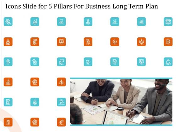 Icons Slide For 5 Pillars For Business Long Term Plan Clipart PDF