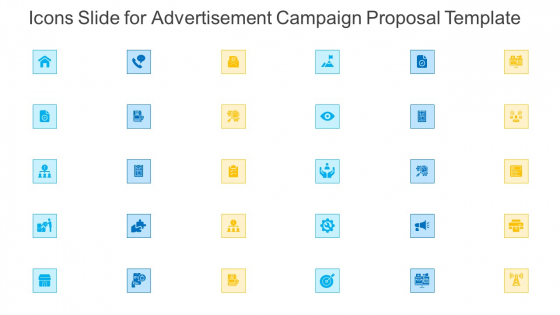 Icons Slide For Advertisement Campaign Proposal Template Microsoft PDF
