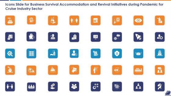 Icons Slide For Business Survival Accommodation And Revival Initiatives During Pandemic For Cruise Industry Sector Introduction PDF