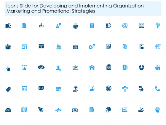 Icons Slide For Developing And Implementing Organization Marketing And Promotional Strategies Portrait PDF