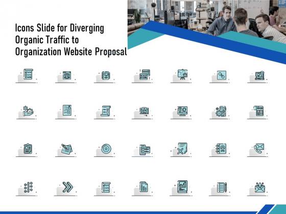 Icons Slide For Diverging Organic Traffic To Organization Website Proposal Ppt Model Outline PDF