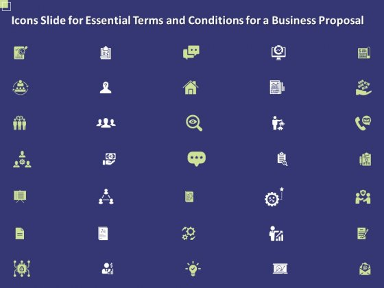 Icons Slide For Essential Terms And Conditions For A Business Proposal Ppt PowerPoint Presentation Gallery Vector PDF