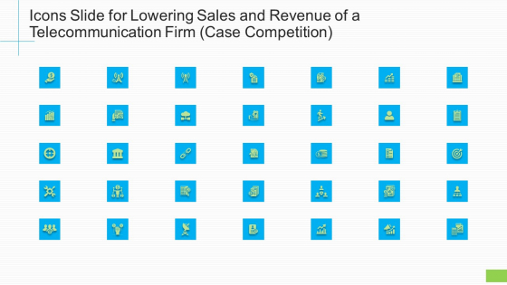 Icons Slide For Lowering Sales And Revenue Of A Telecommunication Firm Case Competition Ppt Professional Slides PDF