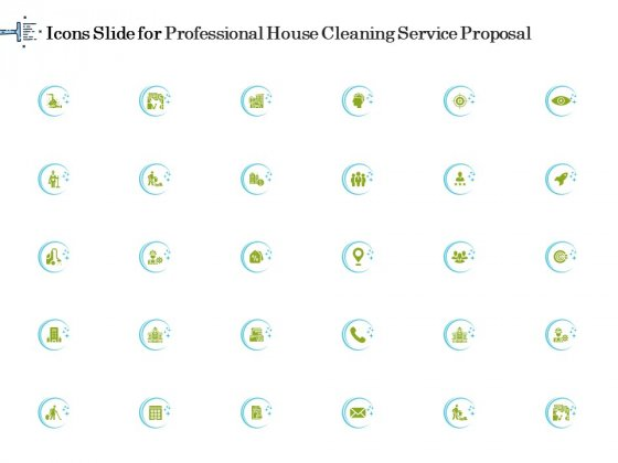 Icons Slide For Professional House Cleaning Service Proposal Themes PDF