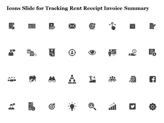 Icons Slide For Tracking Rent Receipt Invoice Summary Ppt File Rules PDF
