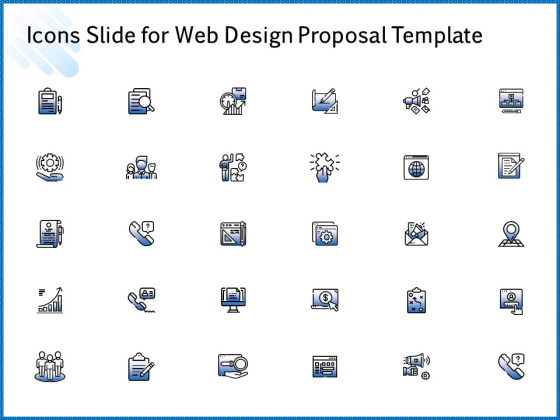Icons Slide For Web Design Proposal Template Pictures PDF