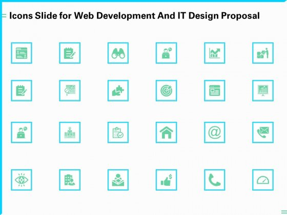 Icons Slide For Web Development And IT Design Proposal Ppt PowerPoint Presentation Slides Background Images PDF